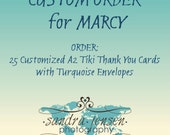 CUSTOM ORDER for MARCY - 25 Customized A2 Tiki Thank You Cards