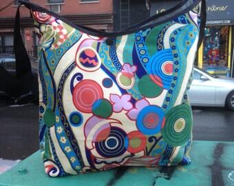Cotton Abstract Print Market Bag, Crossbody Shoulder Bag, Messenger Bag