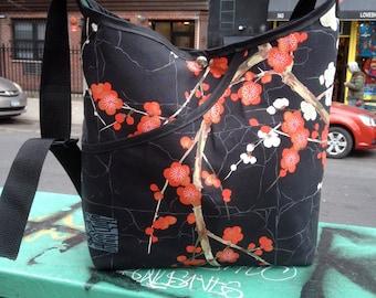 Cotton Cherry Blossom Cross Body Market Bag,  Messenger Bag,  Asian Print Hobo bag