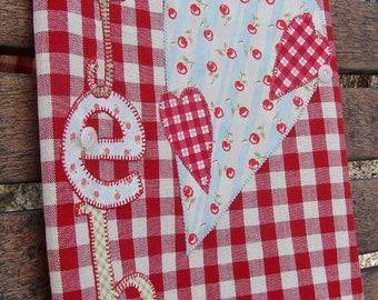 Tea Towel Kitchen Towel Dish Towel February Valentine's Day Gift Idea Raw Edge Applique Embroidery Cotton Red Check Towel Vintage Buttons