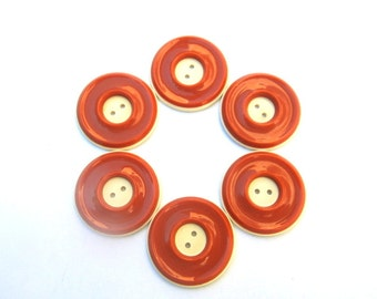 6 Antique vintage plastic buttons, cognac color circles pattern, 27mm can be use as beads