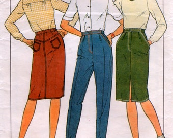 1980 Fitted Jeans Skirt sewing Pattern Style 3121 size 13 14 waist 66cm