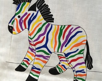 Vintage animals zebra rainbiw stripe pillow childs pattern kit sewing safari circus craft cushion bedding room