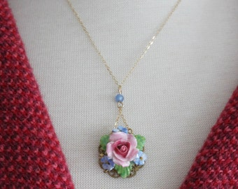 Vintage Flower Necklace Vintage Rose Necklace Mother's Gift Jewelry OOAK