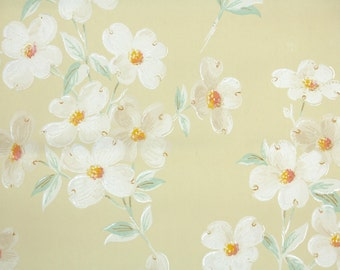 1930s Vintage Wallpaper by the Yard - Antique Floral Wallpaper White Dogwood on Yellow