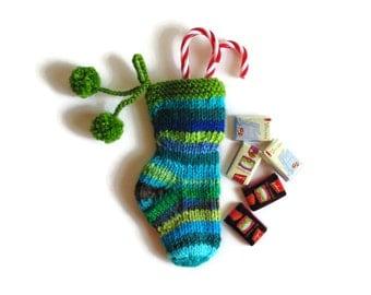 Christmas Stocking Stuffer Knitted Blue Green Stripes