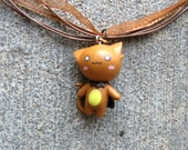 Cat Jewelry Kawaii Super Hero Brown Kitten with Black Cape Necklace