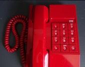 RESERVED for MARY Vintage ITT Red Telephone 80s Phone Landline Streamline Design Works