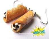 Cannoli Earrings, food Jewelry, iTALIAN dessert earrings, miniature food, Food earrings