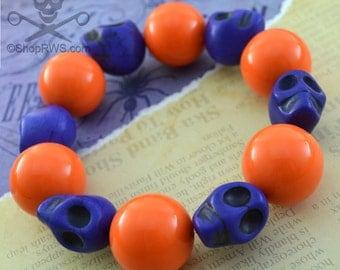 TRICK OR TREAT - Bright Orange Bubblegum Bead Violet Purple Goth Stone Skull Bead Stretch Bracelet