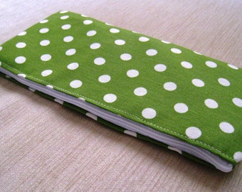 Polka Dots Bright Kelly Green - Cash Wallet, Clutch, Make Up Bag Large Zippered Pouch - Flat - Ready to Ship