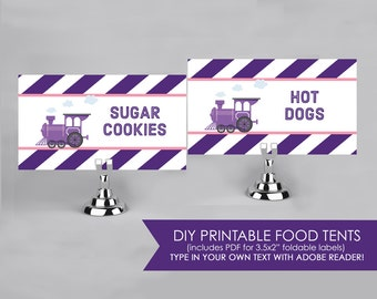 Choo Choo Train Party - Pink and Purple - Food Labels - Printable DIY with fully editable text