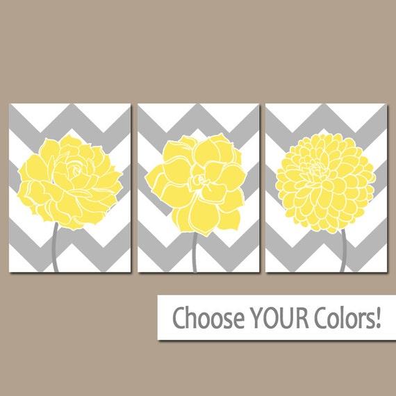 chevron flower wall art canvas or prints yellow gray bathroom. Black Bedroom Furniture Sets. Home Design Ideas