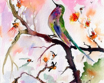 Hummingbird and Pink Sky Original Watercolor Painting by Ginette