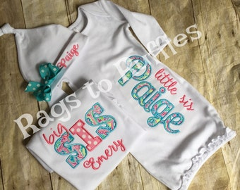 Baby Girl Coming Home Outfit - Big Sister Personalized Shirt- Infant Personalized Gown