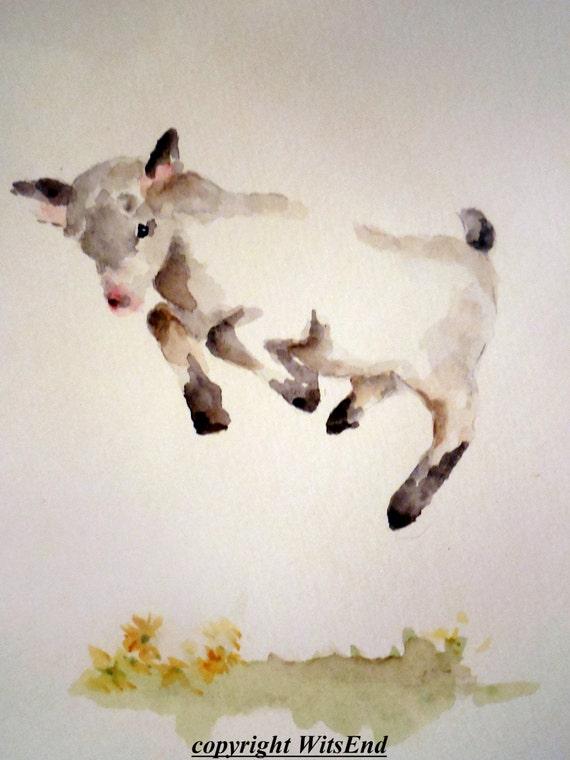 Baby Goat Painting Original Watercolor Nursery Farm Animal Art