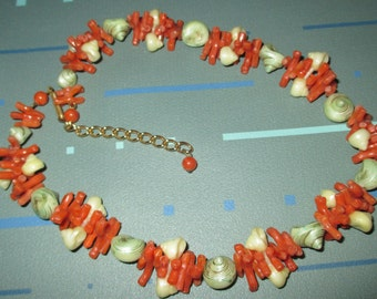 Vintage FAB Faux Orange Branch Coral and Shell Plastic Choker Necklace