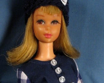Francie Clothes - Navy and White Check Fitted Dress Set