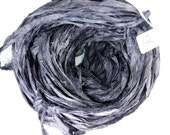 Silk Sari Ribbon, Sari silk ribbon, recycled ribbon, Charcoal grey ribbon, grey sari ribbon, weaving supply, jewelry supply, steampunk