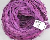 Sari ribbon, Silk Sari Ribbon, Recycled Silk Sari Ribbon, Purple Fuzzy ribbon