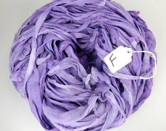 Sari silk ribbon, Silk Chiffon sari ribbon, Recycled Silk Sari Ribbon, purple ribbon, lilac ribbon, tassel supply, weaving supply