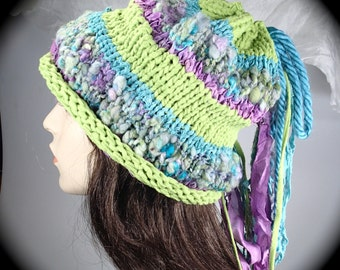 knitted slouch hat, knitted hat, slouchy hat, multi color knitted hat, knitted cowl, cowl