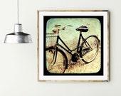 "Bicycle art print - black and cream art - Italy travel - vintage style black bike wall art - bike photography - square print ""Black Bike"""
