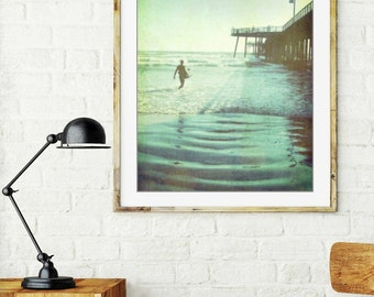 "Surfer art - California beach - summer pier photography - vintage style surf art - ocean photography - blue green ""Afternoon Ride"""