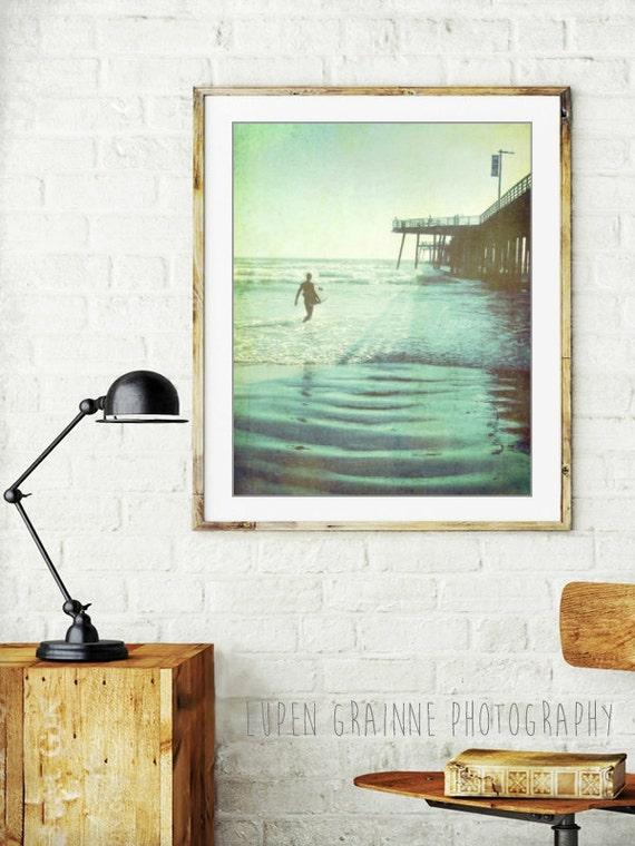 Surfer art / California beach / summer pier photography / vintage style surf art / ocean photography / blue green /  'Afternoon Ride'