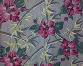 1940s 1950s Hibiscus Flower and Bamboo Barkcloth curtain fabric panel Tropical