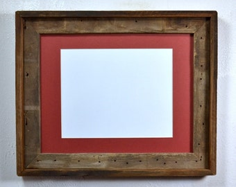 Reclaimed wood picture frame with mat for 8x10 or 8x12 or 9x12