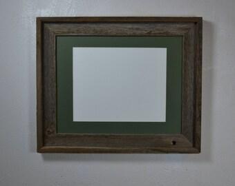 11x14 photo frame with green mat for 8x10,8 1/2x11,8x12,7x9 or 9x12 from reclaimed wood