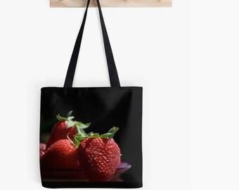 Tote Bag - Strawberries, Farmer's Market Bag, Travel Bag, Grocery Bag, Shopping Bag