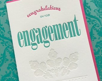 Letterpress Card - Congratulations Engagement