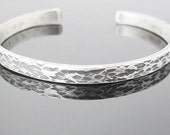Hammered and Oxidized Narrow Sterling Silver Cuff Bracelet