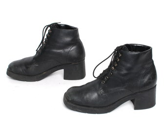 size 7.5 PLATFORM black leather 80s 90s COMBAT lace up ankle boots