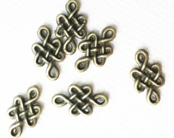 24 pcs of antique brass  Knot connector links 10x12mm, antique bronze knot connector link