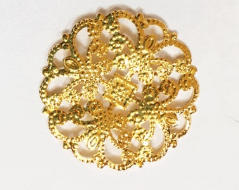 Gold plated brass filigree round  22mm 12 pcs