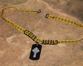 Black Celtic Cross Dogtag Necklace - MacLeod of Lewis Tartan