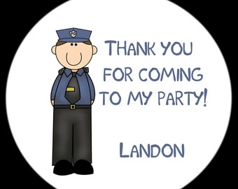 Police Birthday Party Stickers -FOUR Sizes Available 0  POLICE Birthday Party - Police Party Stickers - Cops and Robbers Party