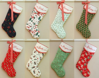 Christmas Stocking Personalized, Christmas Stocking Quilted, Hand Embroidered Stocking, Embroidered Stocking, Eight Colorways to Choose From