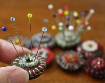 Set of Tiny Magnet Pincushions -- Handmade Wool Felt Pincushion Magnets -- Refrigerator Magnets