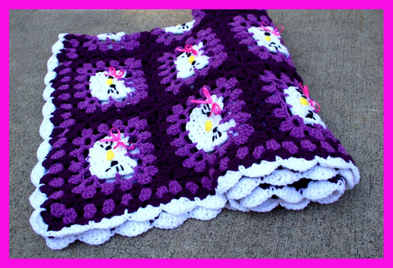 Crochet Pattern For Hello Kitty Baby Blanket : Crochet Baby Blanket White Hello Kitty Hello by ...