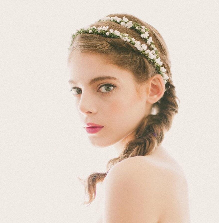 Wedding White Flower Crown: Bridal Flower Headpiece White Flower Crown Wedding By