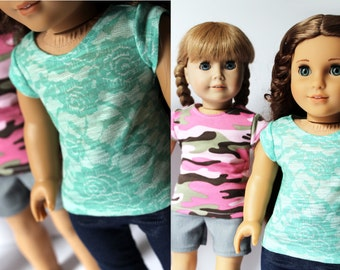 Fits like American Girl Doll Clothes - Cap-Sleeve Tee, You Choose Print