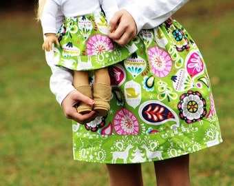 Matching Girl and Doll Clothing fits American Girl Doll - The Treelicious Collection Christmas Skirts, Many Sizes Available
