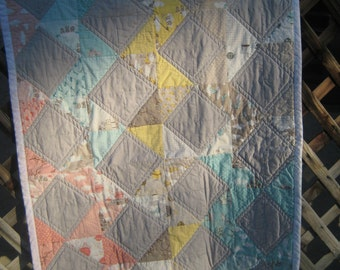 Pastels with grey Baby blanket, quilted, handmade, lap quilt, ready to ship