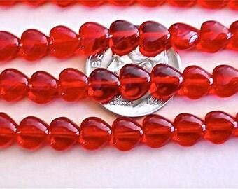 100 Siam Red Czech Glass Heart Beads 6mm