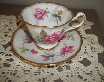Royal Stafford Berkeley Rose Cup & Saucer, Pink Roses, Gold Rim, Tea Cup