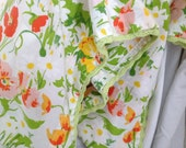 2  Floral Vintage Pillowcases Yellow Green Orange White Crocheted White Trim Shabby Chic Standard Size